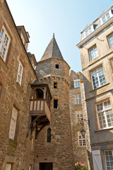 Oldest house with balcony of Saint Malo. Brittany. France.