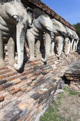 Elefanten am Tempel Wat Chang Lom in Sukhothai