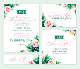 Invitation wedding set. Romantic cards.