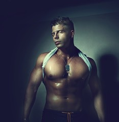 Handsome guy. Bodybuilder