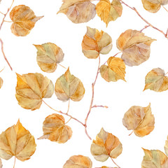 Vector watercolor leaf. Seamless pattern. Autumn theme.