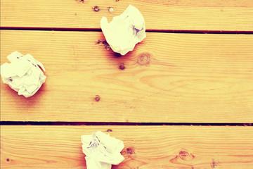 paper balls on wood vintage