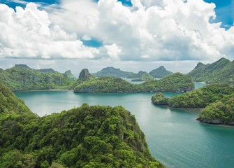 Bird eye view of Mue Koh Angthong National Marine Park, Samui, T