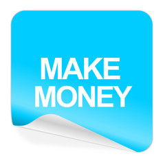 make money blue sticker icon