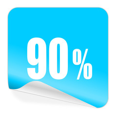90 percent blue sticker icon