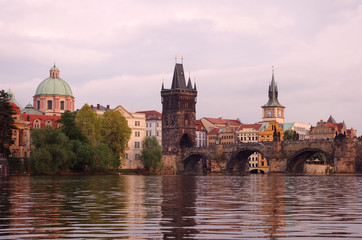 Old Prague at sunset