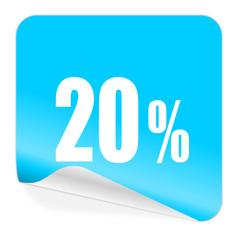20 percent blue sticker icon