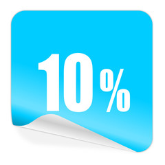 10 percent blue sticker icon