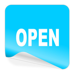 open blue sticker icon