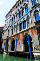 The house near water channel in Venice, Italy