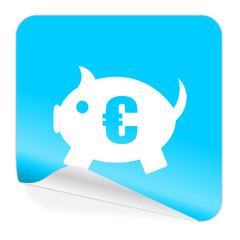 piggy bank blue sticker icon