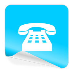 phone blue sticker icon