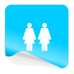 couple blue sticker icon