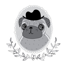 Pug from black-and-white cinema