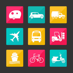vivid color collection transport icons