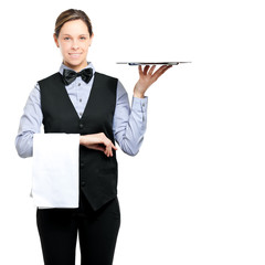 Waitress isolated on white