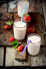 Healthy nutritious tropical smoothie with strawberries