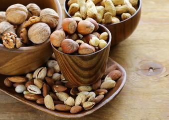 different kinds of nuts (almonds, walnuts, peanuts)