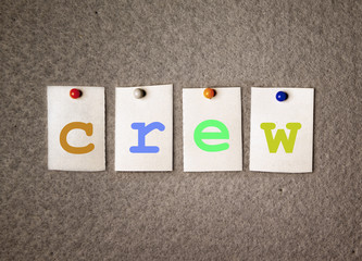 crew note on pin board