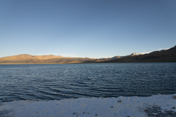 Tibatan saline lake at morning