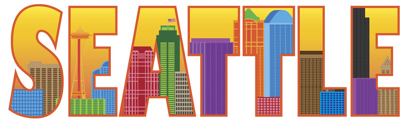 Seattle City Skyline Text Outline Color Vector Illustration