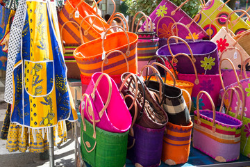 Colorful bags at French market