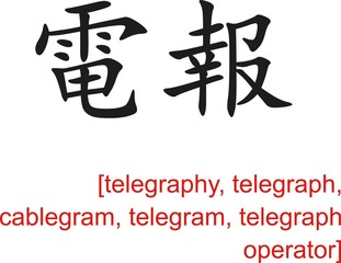 Chinese Sign for telegraphy, telegraph, cablegram, telegram