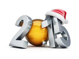 happy new year 2015 santa hat 3d Illustrations on a white backgr