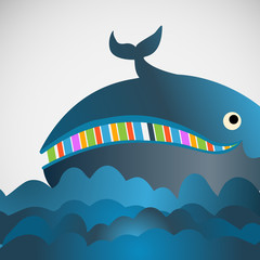 Colorful vector cheerful whale in the sea