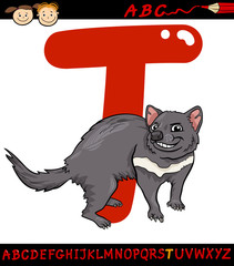 letter t for tasmanian devil cartoon