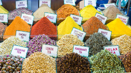 Different sorts of tea and spices on the Egyptian bazaar in