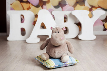 plush hippo letters baby