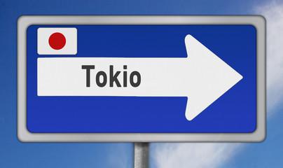 Schild, japanische Metropole Tokio