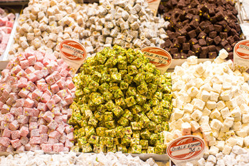 Traditional Turkish sweets on the market
