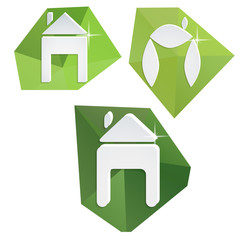 Collection of paper icons on polygonal triangular green backgrou