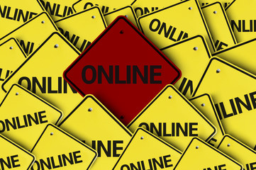 Online written on multiple road sign