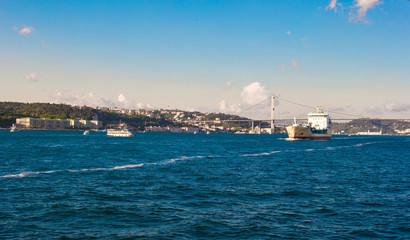 Panorama of the beautiful city Istanbul on Bosphorus Strait