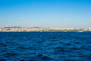 Panorama of the beautiful city Istanbul on Bosphorus Strait