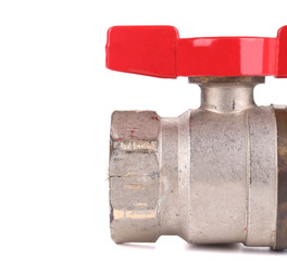 Close-up of metal water valve.