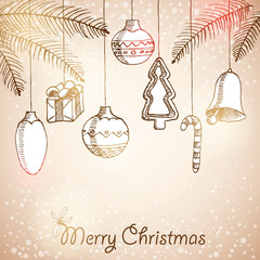 Christmas hand drawn decorations for xmas design, vector illustr