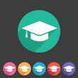 Flat graduation cap icon - 68739498