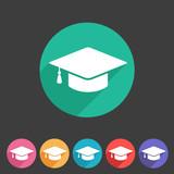 Flat graduation cap icon