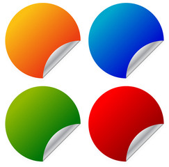 Empty, blank sticker in vibrant colors, with metallic peeling ef