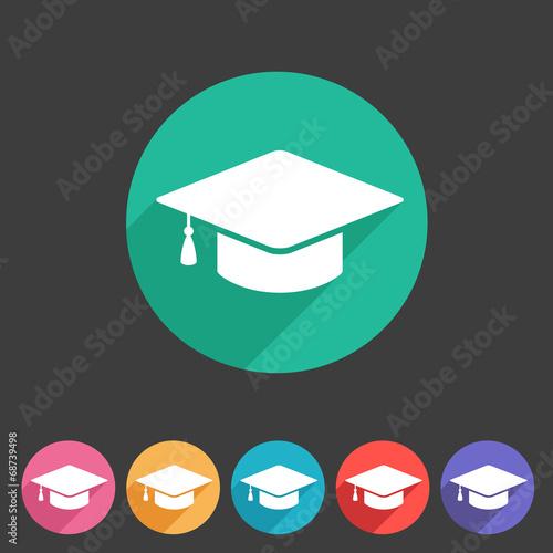 Flat graduation cap icon - 68739498