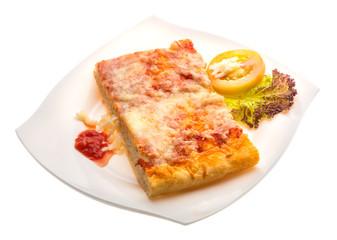 Pizza with tomato sauce and mozarella