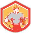 Builder Carpenter Holding Hammer Shield Retro