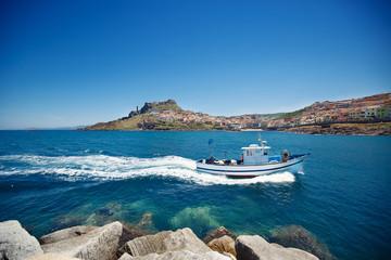 Fishing boat near town Castelsardo, Sardinia