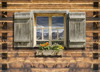 mountain hut window summer