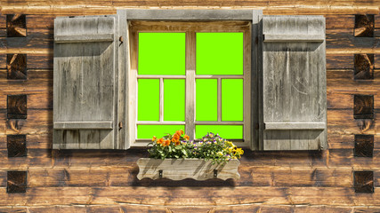 mountain hut facade green screen