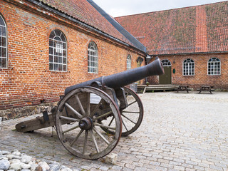 The cannon in the courtyard of the museum Fredrikstad, Norway